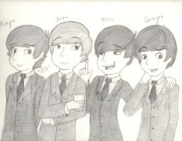 The Beatles Drawing by xX-Kimmi-Xx