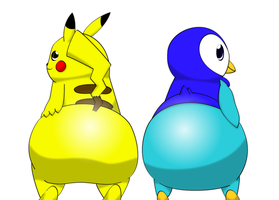 Pikachu and Piplup: Bubble Butts by OptixPanda