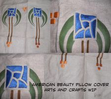 American Beauty Pillow WIP by dragondoodle