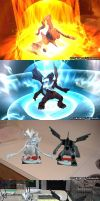 3DS pics: Reshiram and Zekrom by AaronThomason
