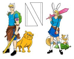 Adventure Time cut outs Finn and Fionna by TerryBlas