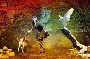 Deer and forest fairy-Oz, es az erdotunder by ladyjudina