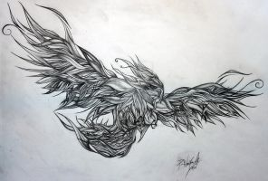 Phoenix tattoo design, black and white by Prozzakchylde