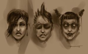 Female Character Head Studies by DylanPierpont