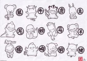 The 12 Chinese Zodiacs by SnuggleBoo