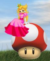 Peach on a Mushroom by kcjedi89