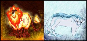 Volcano Lion and Glacier Lioness by Juffs