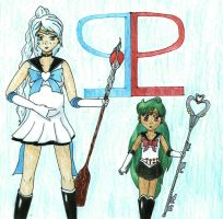 Sailor Charon and young Pluto by Zoe-the-Pink-Ranger