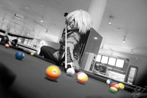 Crazy Ragna Playing Pool by phyllopillow