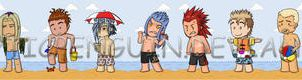 Organization XIII at the beach by NarcolepticPenguin