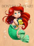 little mermaid and plushie by MoonchildinTheSky