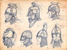 Rohan helmet sketches by Merlkir