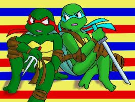 Raph and Leo-sitting- by koju327