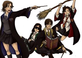 Hogwarts Houses by 0-Pau-0