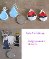 Custom Pins and Earrings (Sample/Test) by MaiShark