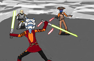 Ahsoka vs Rako-Wan and Bane by Inksaber