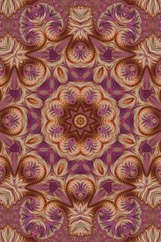Pink and Gold Spiral Fractal Kaleidoscope 2 by Kaleiope-Studio
