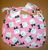 Glasses Wearing Cat Print - Hobo Style Bag by 13anana