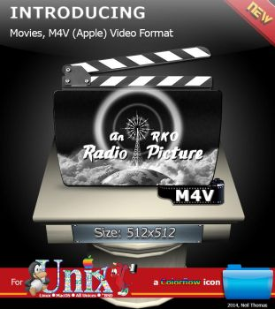 Movies, M4V (Apple) format folder icon (Colorflow) by nt291263