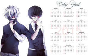 Yearly Calendar Wallpaper 2015 - Tokyo Ghoul by edinaholmes