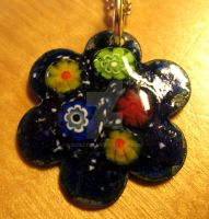 Glass Enamelled Flower Pendant by bonztee
