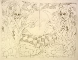 psychedelica girls- sketch for painting by xxswanfeather