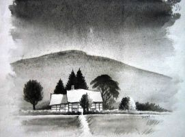 Black and White Cottage by S-A--K-I