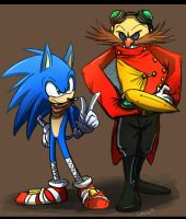 sonic boom: Sonic and Eggman by Omiza