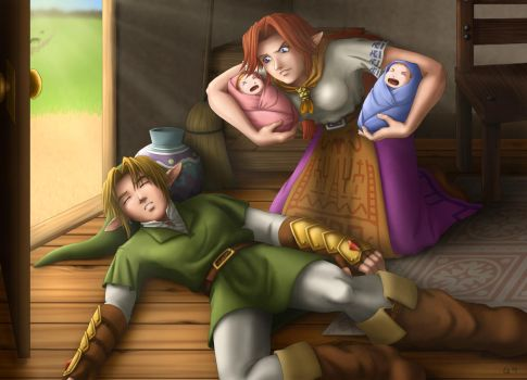 Commission: Link and Malon by raiyneofgailin