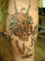 guns skull with wasps. by kenpower