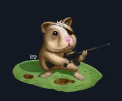 The hampster with the machine gun by dimorali