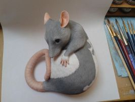 Hooded Rat Sculpture WIP by philosophyfox