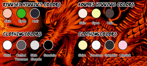 Ryuusei and Koumei Hyuuzu Colors Palette by dreamchaser21