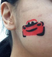 Lightning McQueen face paint by Prince5s