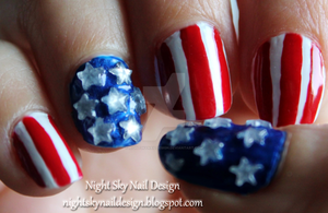 American Flag by nightskynaildesign
