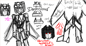 Darkcloud OC Design Sketch by solarafoxwell