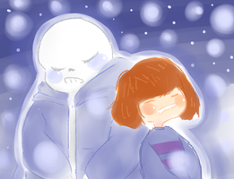 Frisk And Sans by FireFlameCC