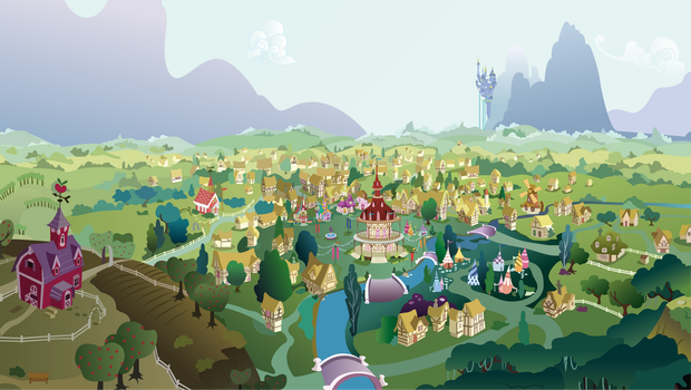 A View of Ponyville by Hellswolfeh