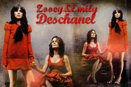 Zooey and Emily Deschanel by Spidermarga