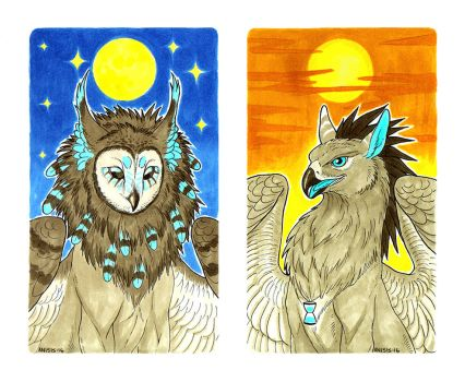 Moon and sun by Anisis
