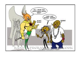Hawkman Meets The Birdmen and by regii