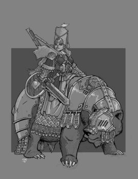 Dwarf Bear Rider by cwalton73