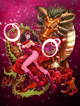 Scarlet Witch with dragon by daxiong