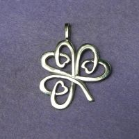 Celtic Shamrock silver lucky charm pendant by YANKA-arts-n-crafts