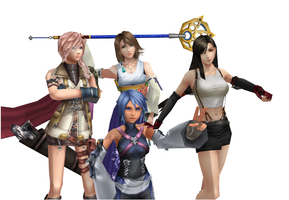 Yuna, Aqua, Tifa and Lightning by yellalix
