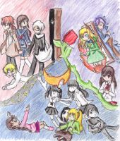 Ib, Ao Oni, and Yume Nikki by Monochrome-Dream-Fox