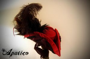 Red Silk Mini Tricorn Hat 2 by apatico