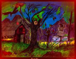 Barn and Owl by johnfboslet2001