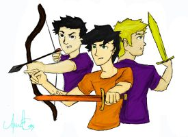 Frank Zhang, Percy Jackson and Jason Grace by Balhinha