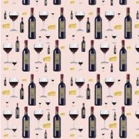 wine and cheese fabric by KRSdeviations